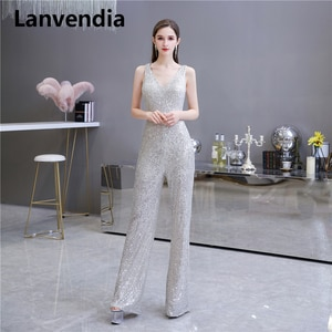 Lanvendia Sliver Colour Evening Dress 2020 Shiny Sequined Long Prom Dress Mother Of The Bride Dresses for Wedding Party