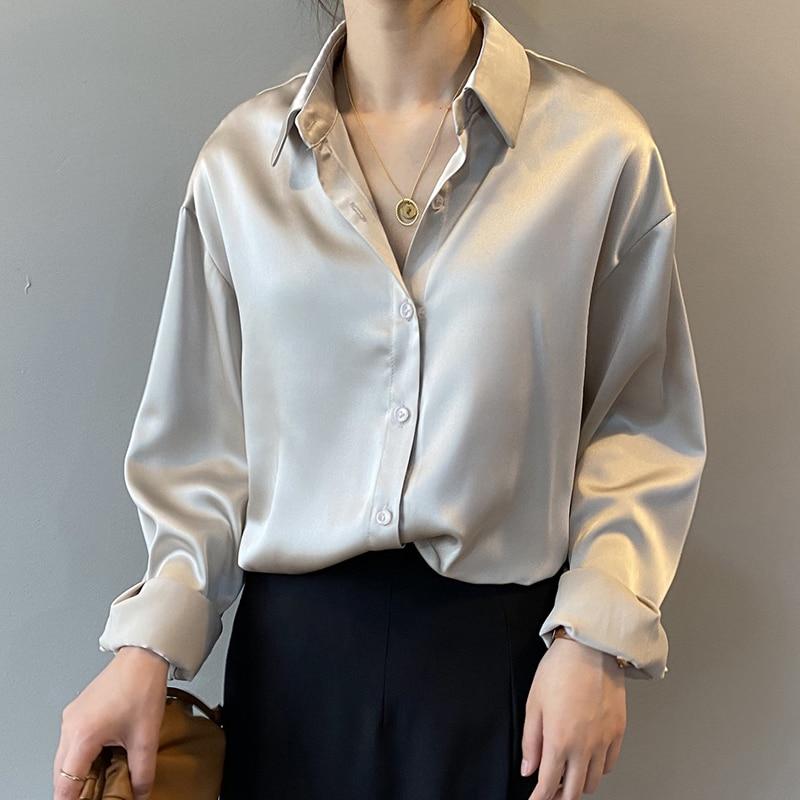 Autumn Fashion Button Up Satin Silk Shirt Vintage Blouse Women White Lady Long Sleeves Female Loose Street Shirts 11355