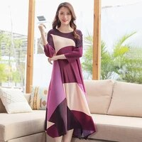 stretch dress for women plus size 45 75kg 2021 spring geometric print round neck three quarter sleeves loose miyake pleated midi