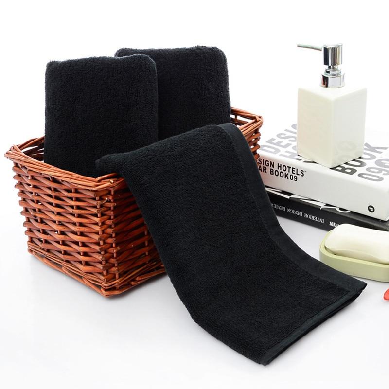 Toallas de cara negra de algodón suave Toalla de playa hogar Baño ducha cabello seco fuerte absorción de agua para Mujeres Hombres de alta calidad