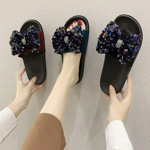 2020 Causal Women Slippers Summer Bow sequins glitter Flats Female Outdoor Flat Platform Shoes For Ladies