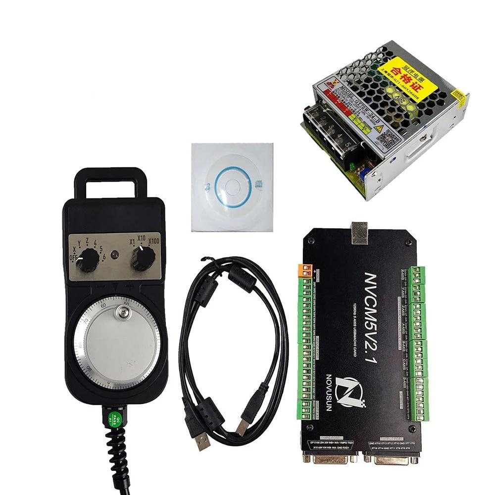 Mach3 USB interface CNC motion controller NVCM 3/4/5/6 axis CNC motion control card, 4/6 axis electronic handwheel 24V DC