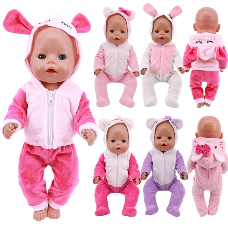 Doll Baby Clothes Unicorn Kitty Pajamas Fit 18 Inch American&43 CM Reborn New Born Baby Doll OG Girl
