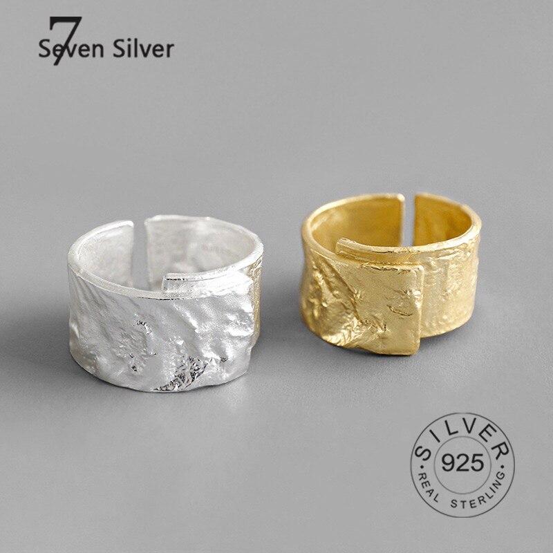 Настоящие женские серебряные кольца, Модные Изящные Ювелирные изделия, большие Регулируемые Антикварные кольца, кольца