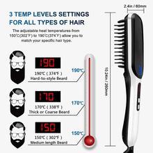 Digital Display 3 Temperature Hair Straightening Comb Electric Men Beard Brush Comb Professional Beard Care Brush Combs