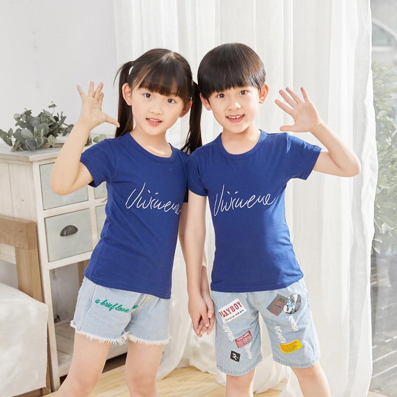 Новинка 2021, модная Милая Одежда для мальчиков, хлопковая одежда с круглым вырезом и коротким рукавом, одежда для девочек с героями мультфиль...