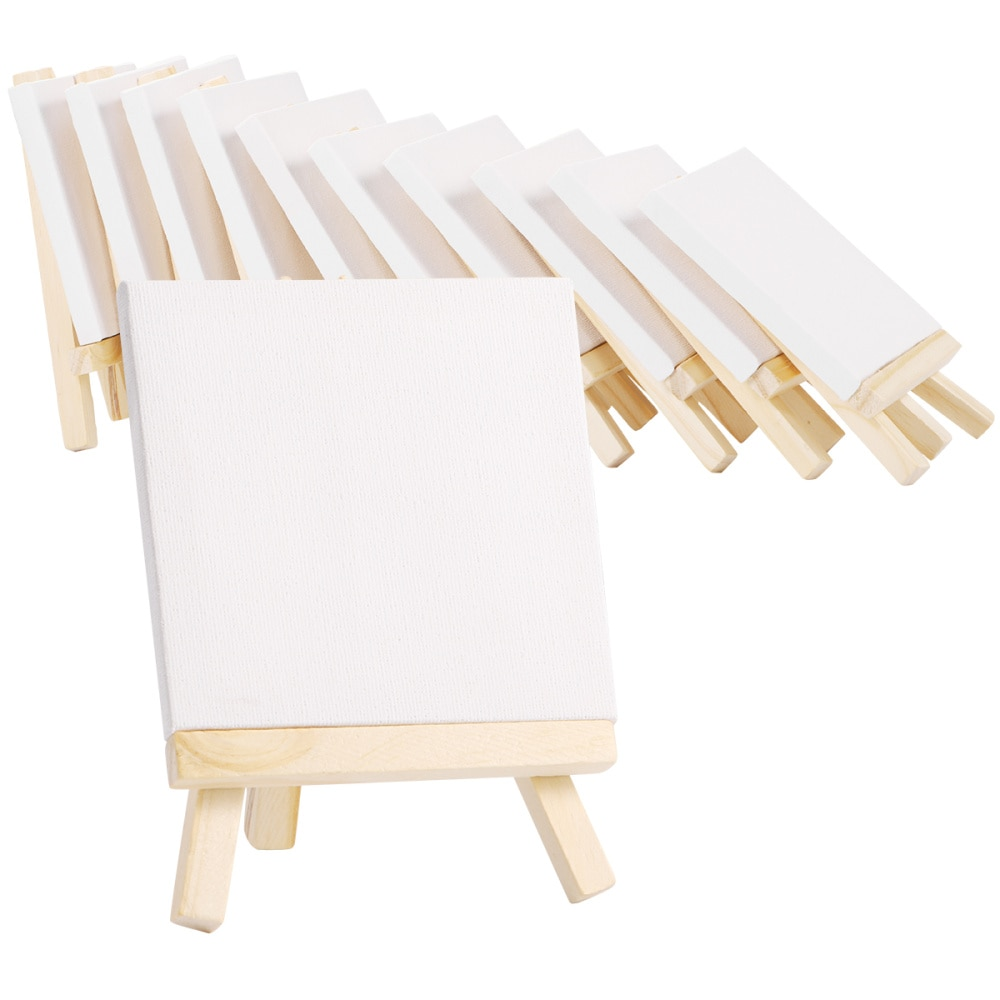 10 Sets Mini Canvas And Easel Set Natural Easel Set Painting Craft Drawing Kit For Professional Artist Hobby Painter for kids