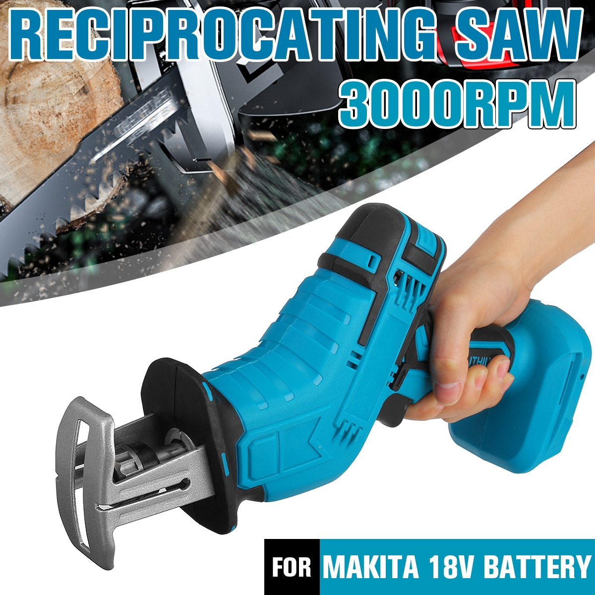 18V Cordless Reciprocating Saw Portable Replacement Electric Saw Metal Wood Cutting Machine Tool for