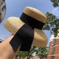 fashion summer ribbon hat sun cap women natural wheat panama straw hats 10cm wide brim holiday beach hat for ladies sun cap