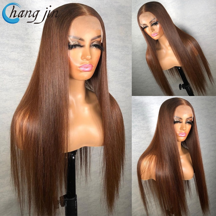 Brown Color 13x4 Human Hair Wigs For Women Malaysian Remy Hair Lace Front Wigs with Baby Hair Straight Hair Lace Closure Wigs