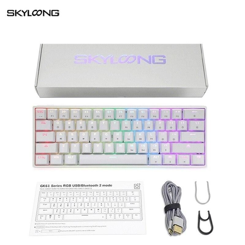 Skyloong لوحة مفاتيح ميكانيكية صغيرة GK61 USB Gamer لوحة مفاتيح RGB بإضاءة خلفية ABS أغطية مفاتيح قابلة للتبديل جذابة لأجهزة سطح المكتب/الكمبيوتر المحمول...