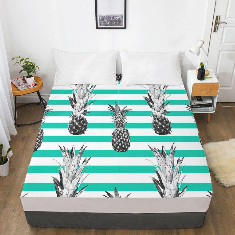 1 قطعة 3D المطبوعة الأناناس تصميم لينة شرشف مع مرونة الفرقة الصلبة السرير ورقة غطاء للتجاعيد التآكل مقاومة ملاءات