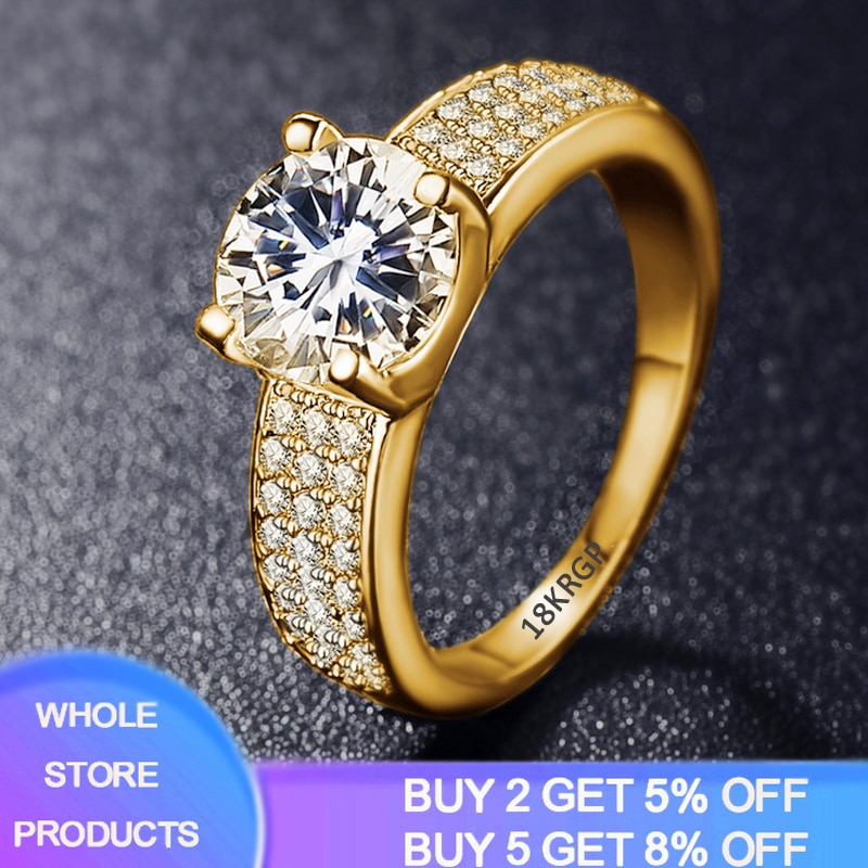 YANHUI 925 Solid Silver Circle Zirconia Diamond Rings For Women 18K Gold Color Cubic Zirconia Wedding Fine Jewelry Ring For Girl 95% off with certificate luxury solitaire 2 0ct zirconia diamond ring 925 solid silver 18k white gold wedding rings for women