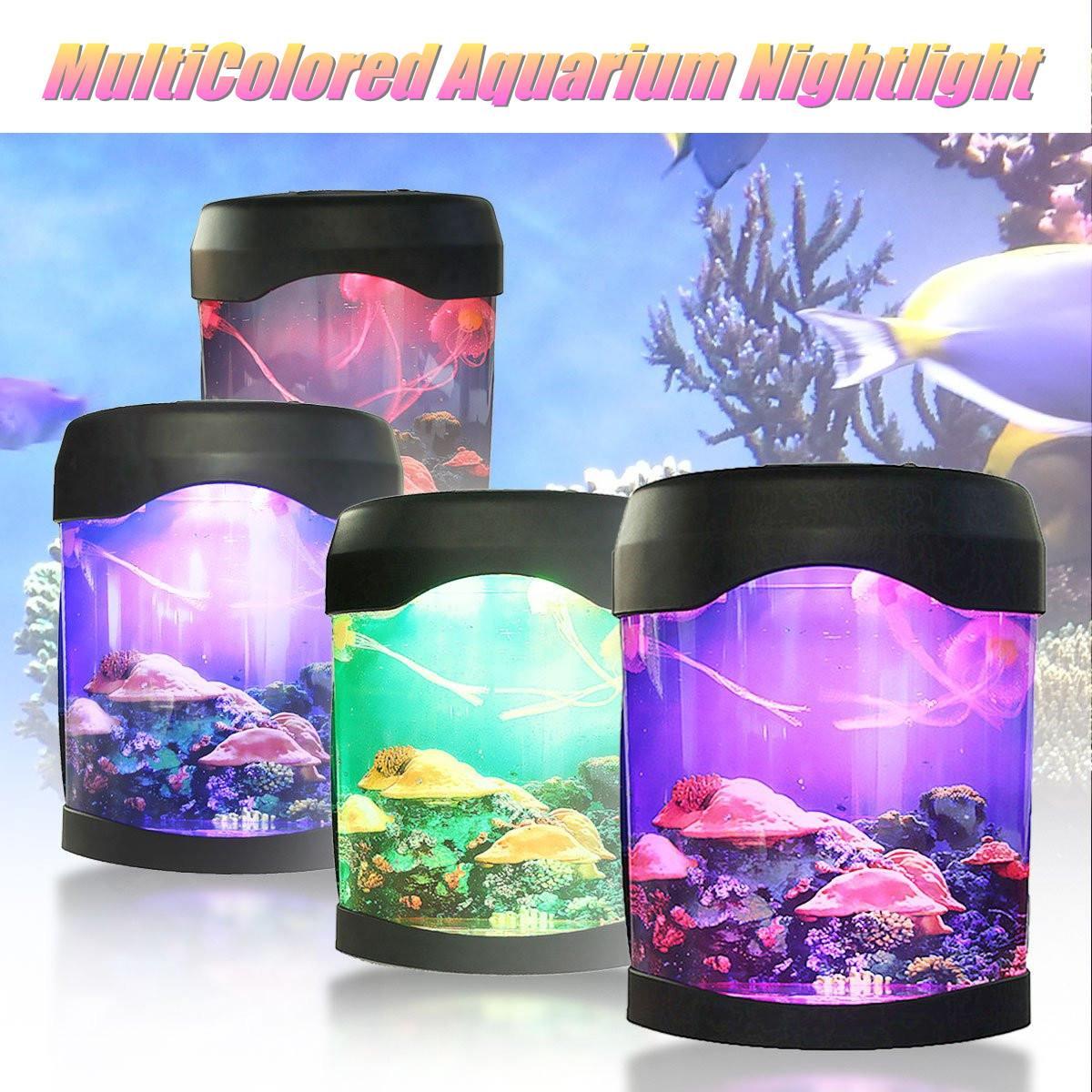 LED Colorful Jellyfish Tank Sea World Swimming Mood Lamp Nightlight MultiColored