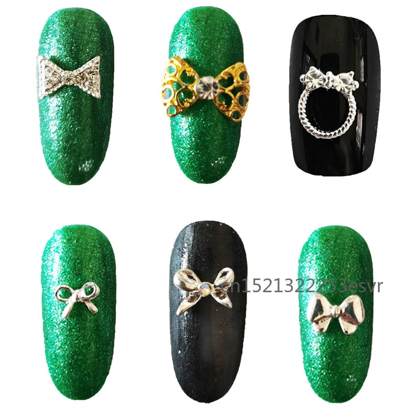 10pcs Bow Glitter Nail Rhinestones Glass Stone Charms Crystal Bowknots Jewelry DIY UV Gel Manicure 3D Nail Art Decorations недорого