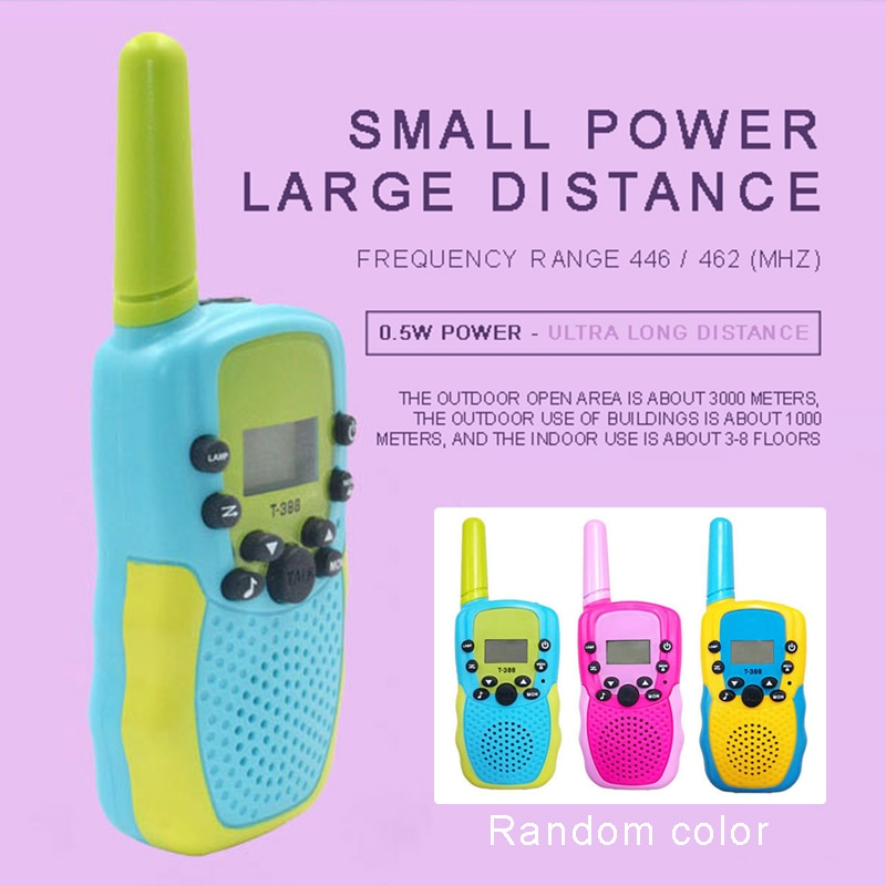 2pcs Randomly Dual Color Children Walkie Talkies Portable Mini 446MHz 8 Channel Long Range Radio Interphone