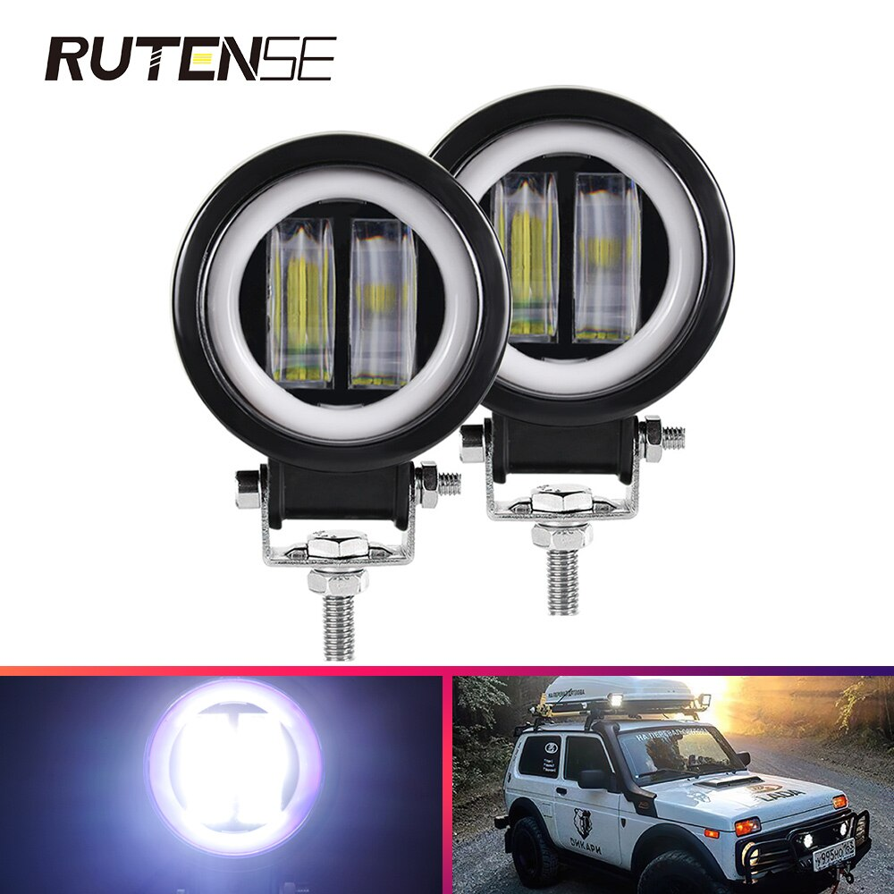 Luces LED de trabajo de 3 pulgadas y 20W, barra de luz redonda, impermeable, Ojos de Ángel, todoterreno, motocicleta, camión, coche, barco ATV 12V 24V