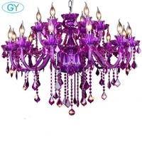 nordic purple crystal light restaurant bedroom light hotel internet cafe ktv cafe clothing store glass chandelier lustre lamp