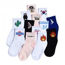 Chinese Daily Cotton Socks Kitten Harajuku Socks Students  Korea Cactus Women Gun Japanese Men Socks Flame Alien ZM-06