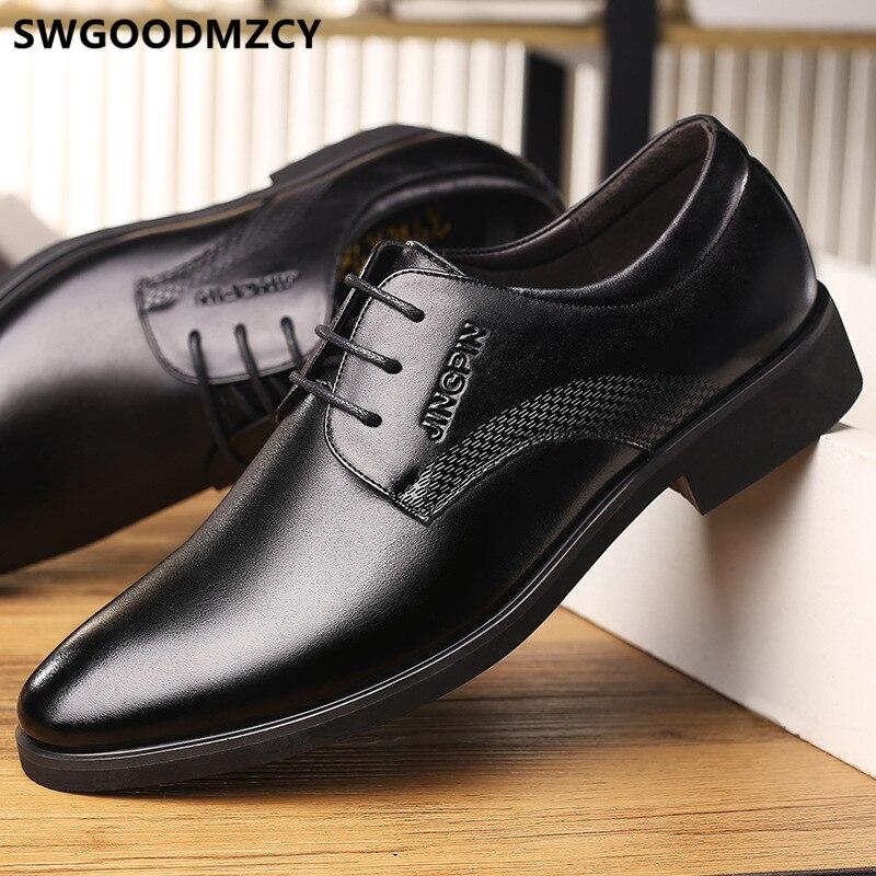 Zapatos de vestir de cuero Para hombre, calzado elegante, Oxford, italiano, clásico