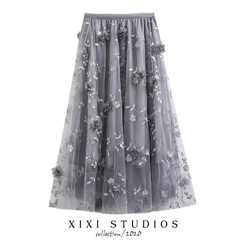 Three-dimensional embroidery flower net yarn skirts posed bitter fleabane bitter fleabane skirt show thin long in A word