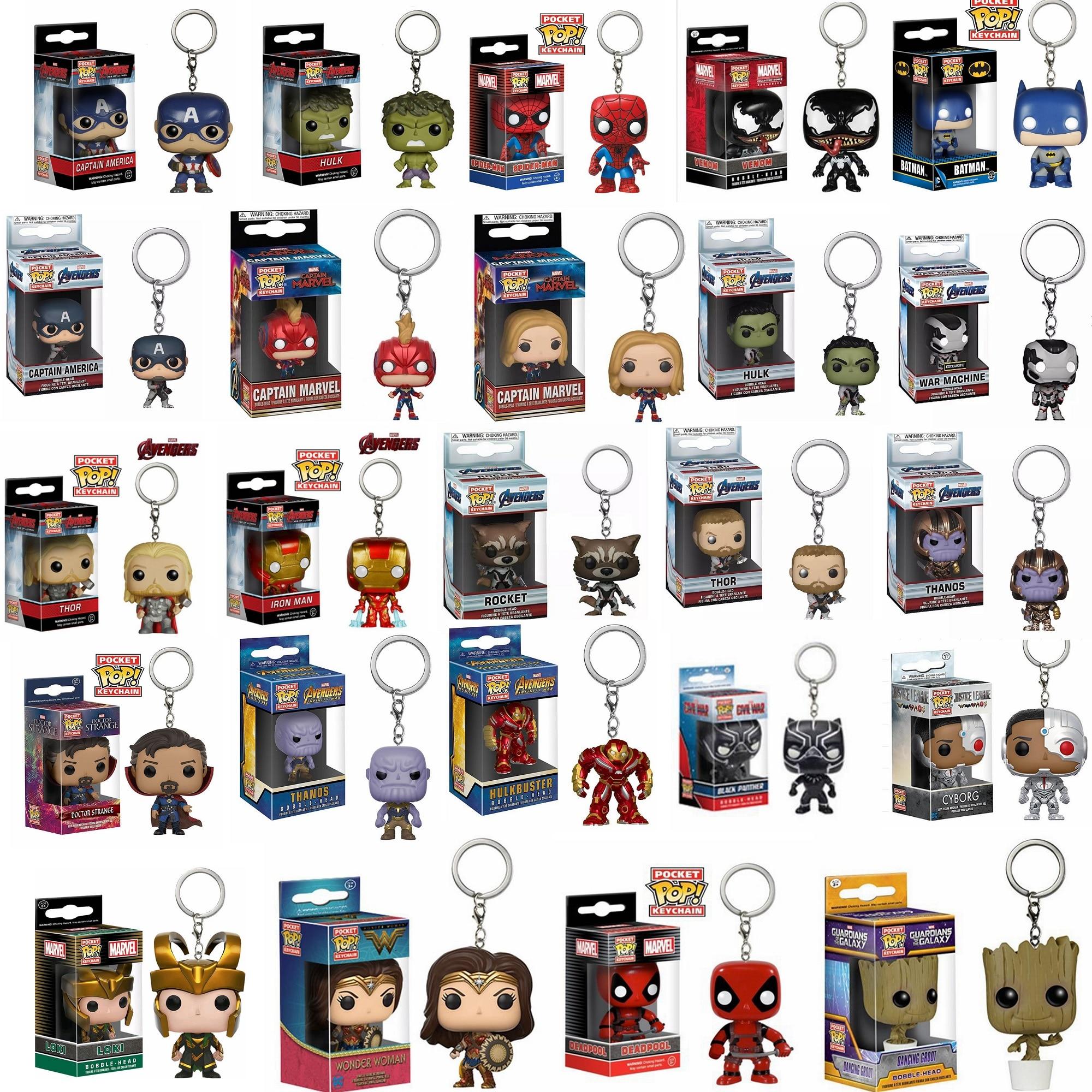FUNKO POP Мстители 4: Endgame капитан чудо-яд Дэдпул брелок с Железным человеком Фигурки игрушки для детей Рождественский подарок