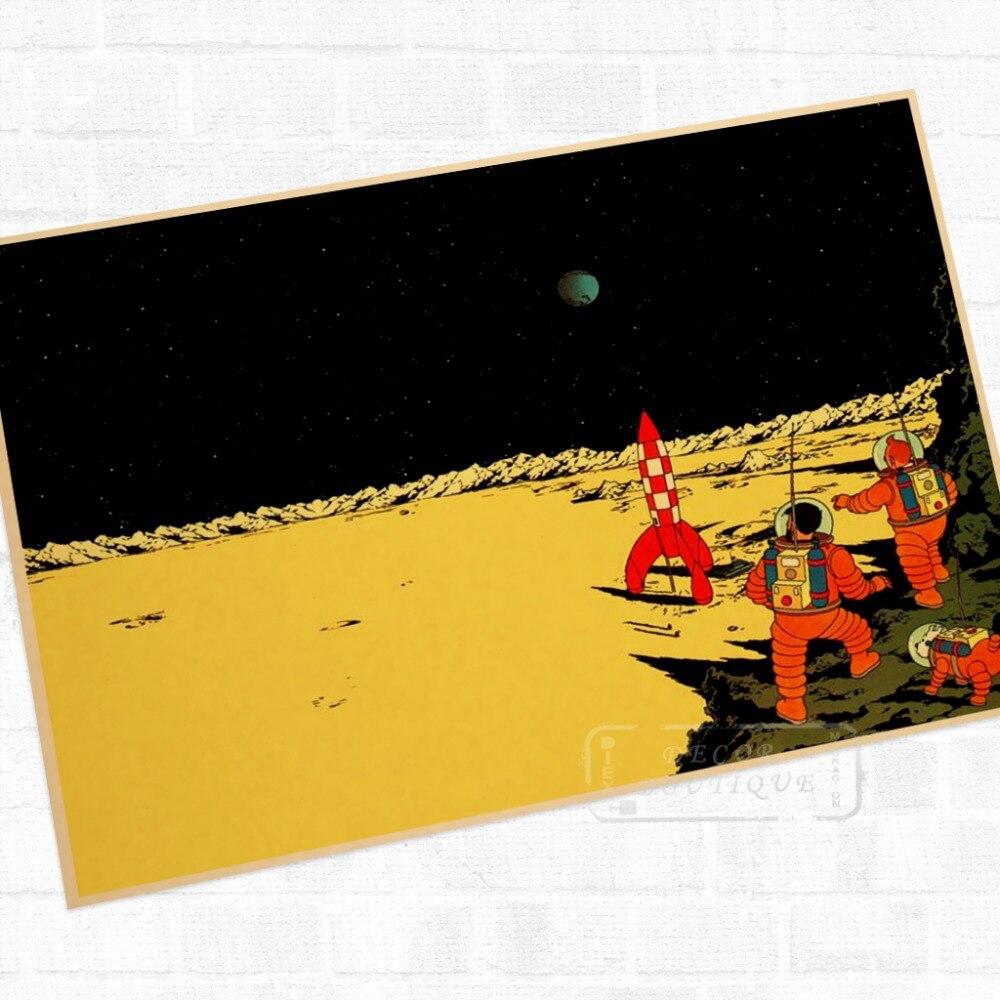 Otro planeta Tintín de dibujos animados Comic Vintage póster retro de Kraft recubierto bricolaje decoración de la pared de lona etiqueta Bar carteles de decoración