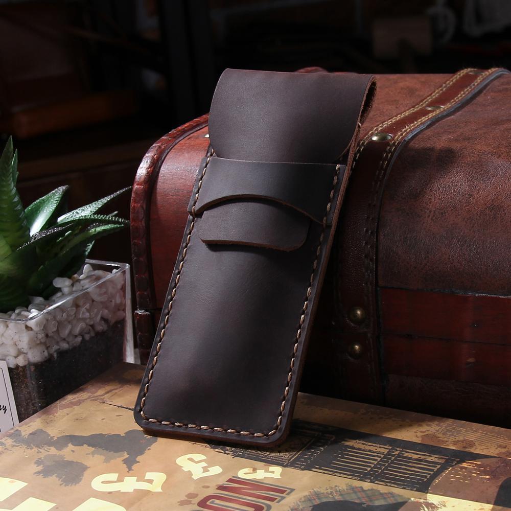 Fundas de pluma estilográfica de cuero de vaca, bolso de lápiz genuino hecho a mano, bolsa de manga, suministros para estudiantes escolares de oficina