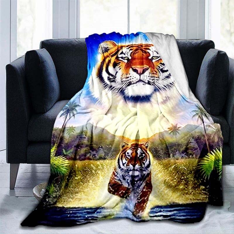 الحيوان النمر بطانية الفانيلا بطانية سوبر لينة الصوف رمي البطانيات بطانية دافئة لغرفة النوم أريكة الأريكة