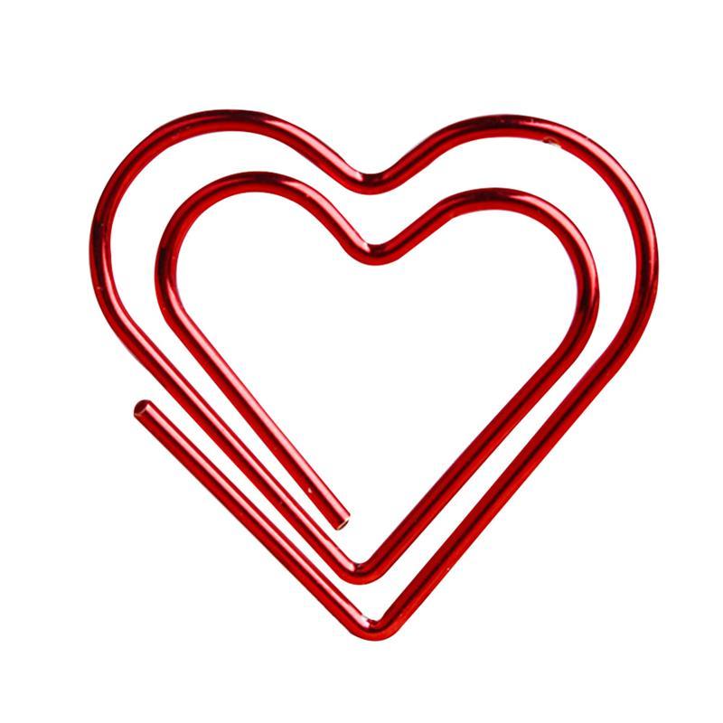 100 pces paperclip amor coração clipes de papel marcação bookmark pino acessórios de escritório de papelaria (vermelho)