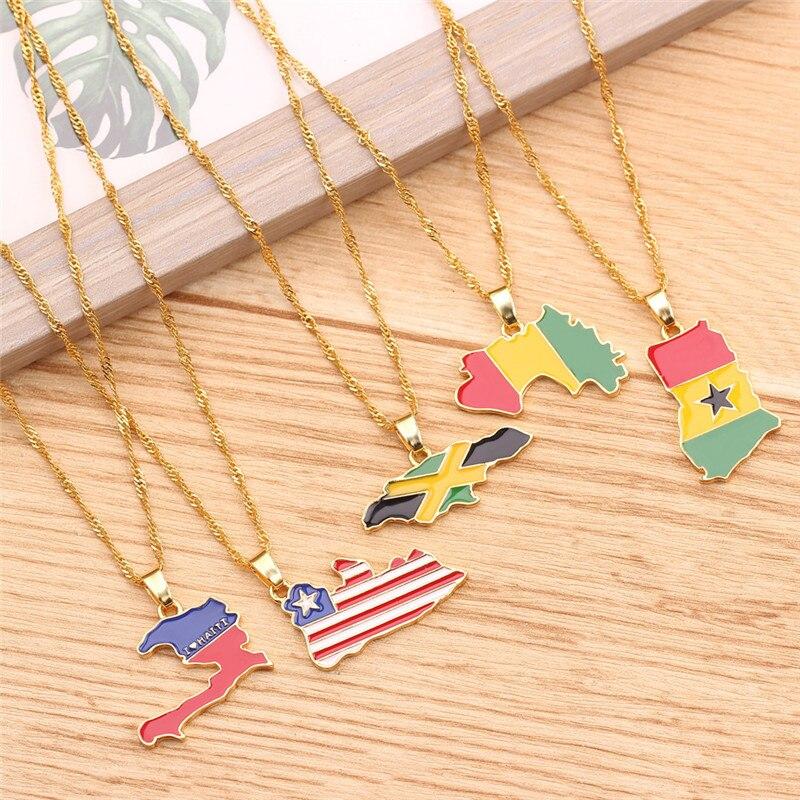 10 قطعة BFF مجوهرات 26 نمط لوحة العلم قلادة جمهورية العراق للنساء الرجال رواندا بورتوريكو خريطة عُقد ذهبي بدلاية كيتينغ