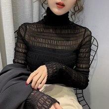 Nowa koronkowa bluzka damska bielizna w nowym stylu zachodnia europejska wykwintna bluzka Top jesienią i zimą