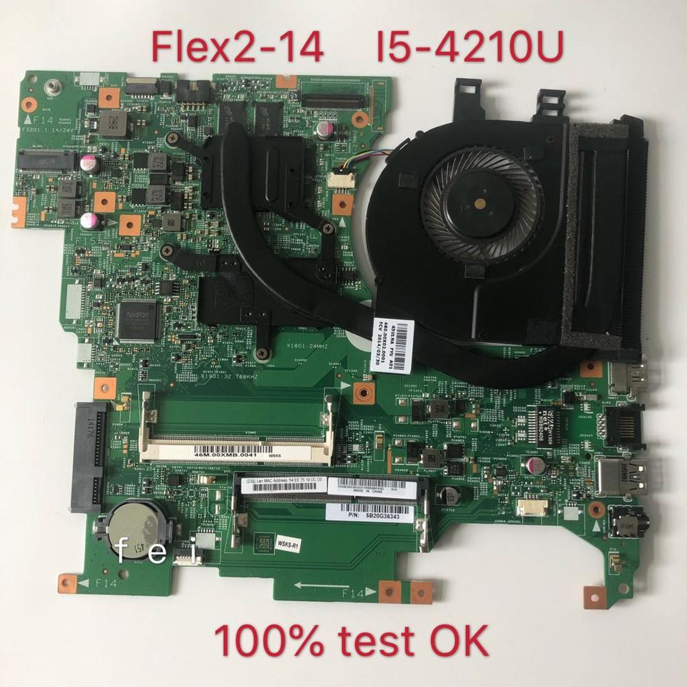 لينوفو كمبيوتر محمول اللوحة 13281-448.00X01.0011 FRU 1 Flex2-14 5B20G36343 كوم SR1EF i5-4210U CPU DDR3 100% اختبار موافق