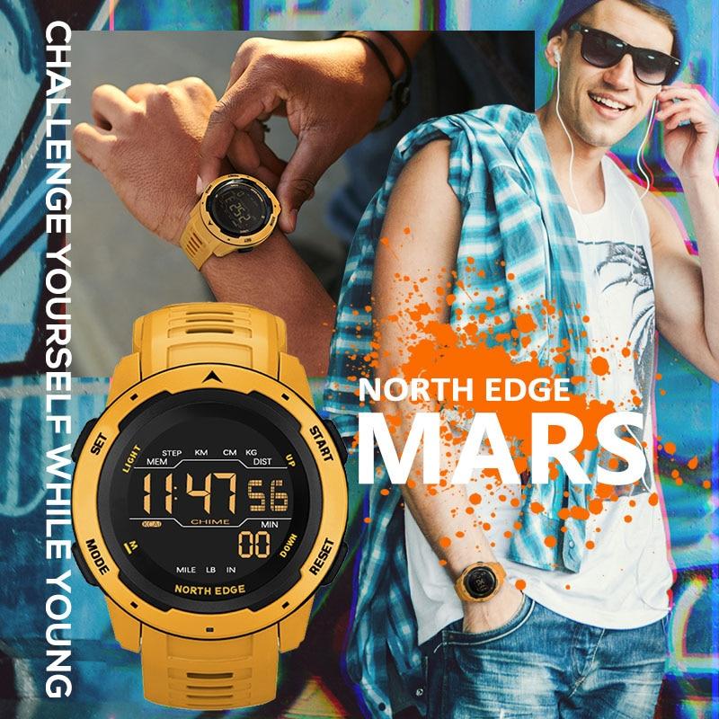 NORTH EDGE Men Digital Watch Men's Sports Watches Dual Time Pedometer Alarm Clock Waterproof 50M Digital Watch Military Clock