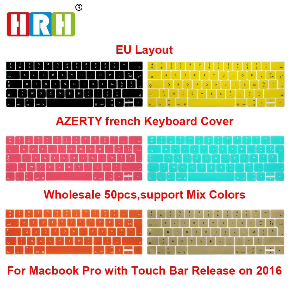 HRH 50pcs EU French AZERTY Silicone Keyboard Cover Skin For Macbook Pro 13
