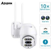 IP-камера AZISHN PTZ 10X, 3 Мп, Wi-Fi, два объектива, двустороннее аудио, IP66