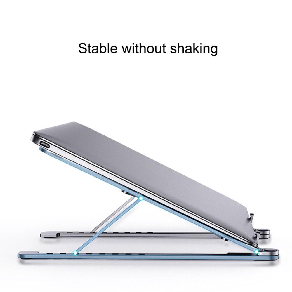 Estante de refrigeración de 11-17 pulgadas, ángulo ajustable plegable, soporte portátil de escritorio de aleación de aluminio, soporte Universal antideslizante para ordenador portátil de oficina