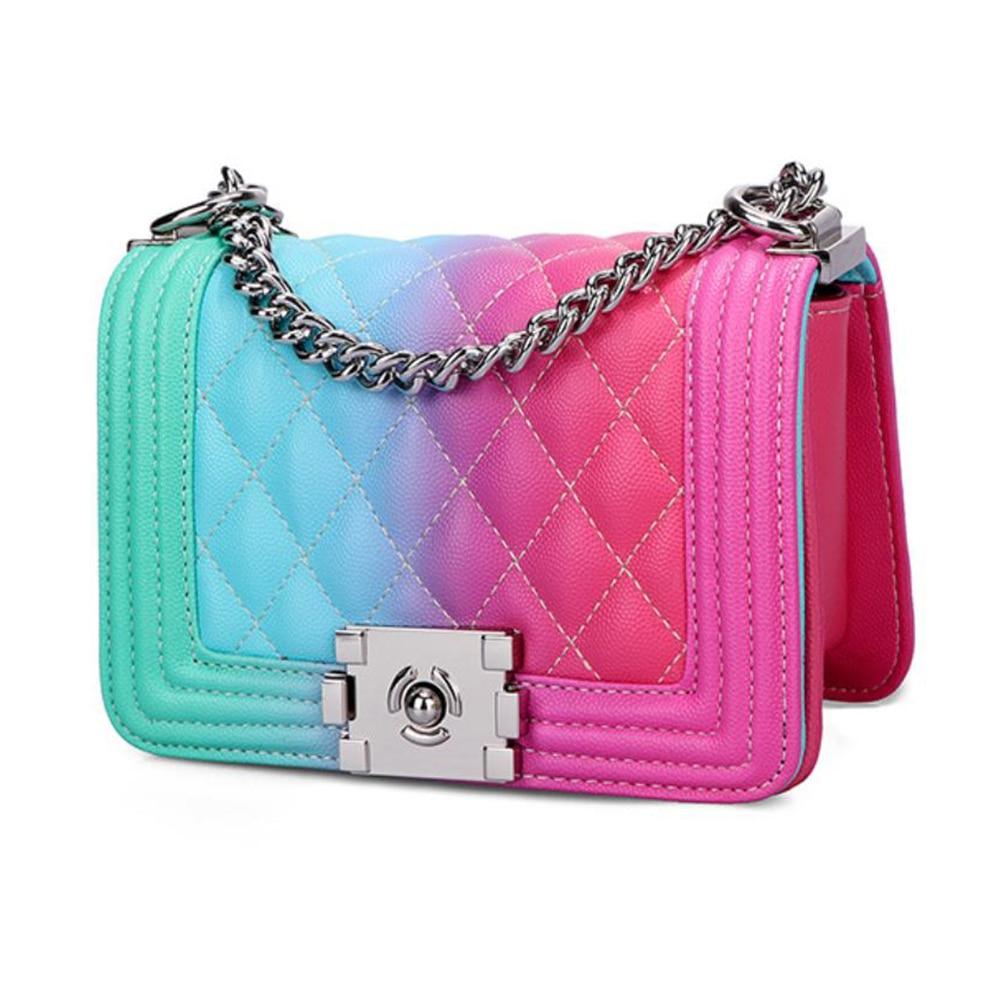 Bolso de hombro de cuero de lujo bolso Diagonal de diseño de cadena para las mujeres 2020 colorido arcoíris Graffiti Messenger monederos cluth bolso