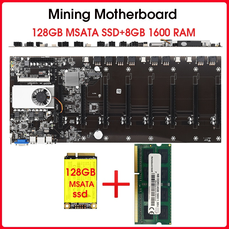 لوحة أم للتعدين بدون إطار 8 وحدة معالجة رسومات بيتكوين جهاز تعدين إيثروم مع 128GB MSATA SSD DDR3 8GB 1600MHZ طقم ذاكرة الوصول العشوائي