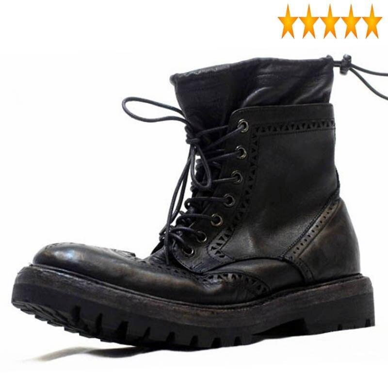 أحذية رجالية مصنوعة يدويًا من جلد البقر ، أحذية عتيقة ، بروغ ، كاجوال ، جلد طبيعي ، مقدمة مستديرة ، شتوي
