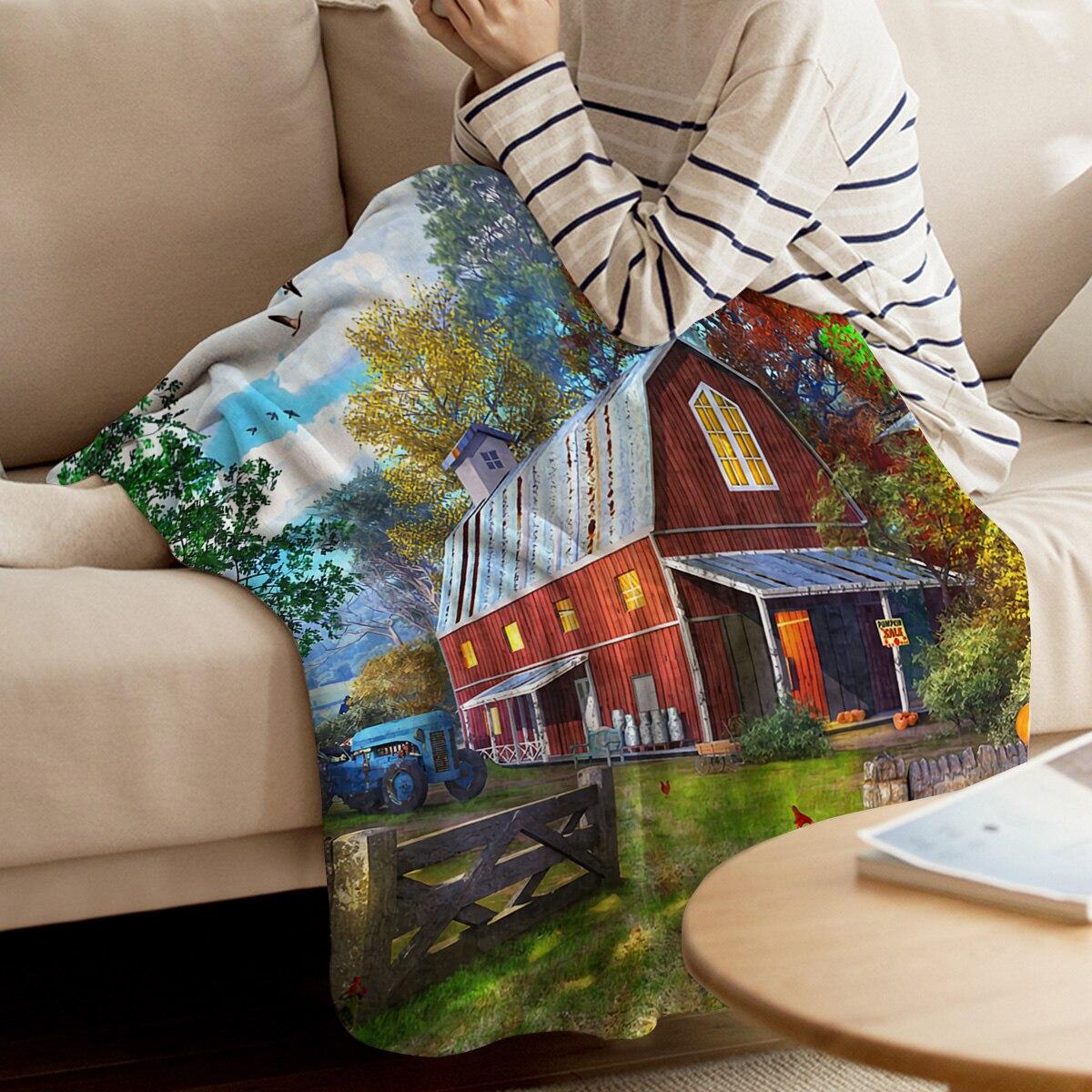 Farm Life Barn Retro Truck Rustic Throw Blanket Warm Microfiber Blanket Cartoon Blankets For Beds Home Decor