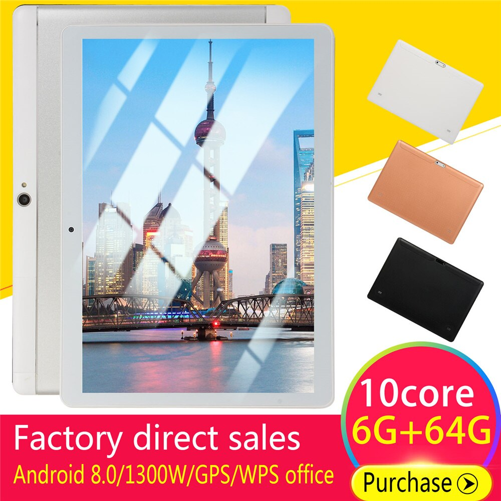 2021 The latest 10-inch tablet 6GB RAM 64GB/128GB ROM 4G LTE 13.0/8.0MP 1960X1080 Android 8.0 tablet