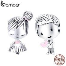 bamoer Boy and Girl Charm for Original Silver 925 Bracelet Genuine 925 Sterling Silver Metal Beads Valentine Gifts SCC1334