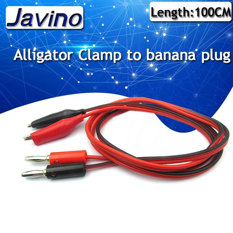Sonda multímetro de 100cm abrazadera eléctrica Cable de prueba de cocodrilo Clip de plomo a cable con conector Banana cables accesorios de prueba