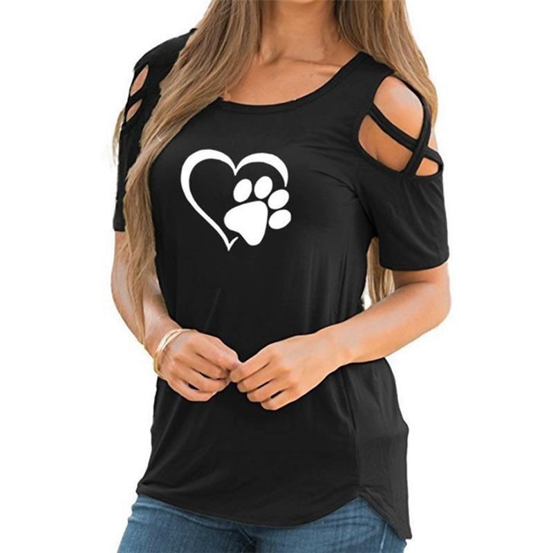 2020 5XL Harajuku lovely heart Tshirt Women Causal T-shirt Cotton Bear paw Tees Woman off shoulder t