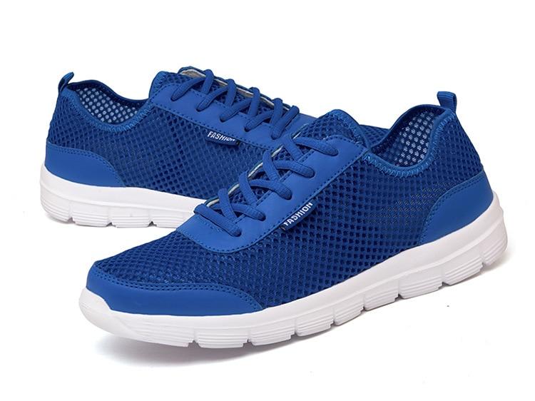 Zapatos azules de malla de verano para hombre, zapatos ligeros respirables para exteriores, zapatos deportivos con cordones, zapatillas informales de gran tamaño para parejas, hombre 37-48
