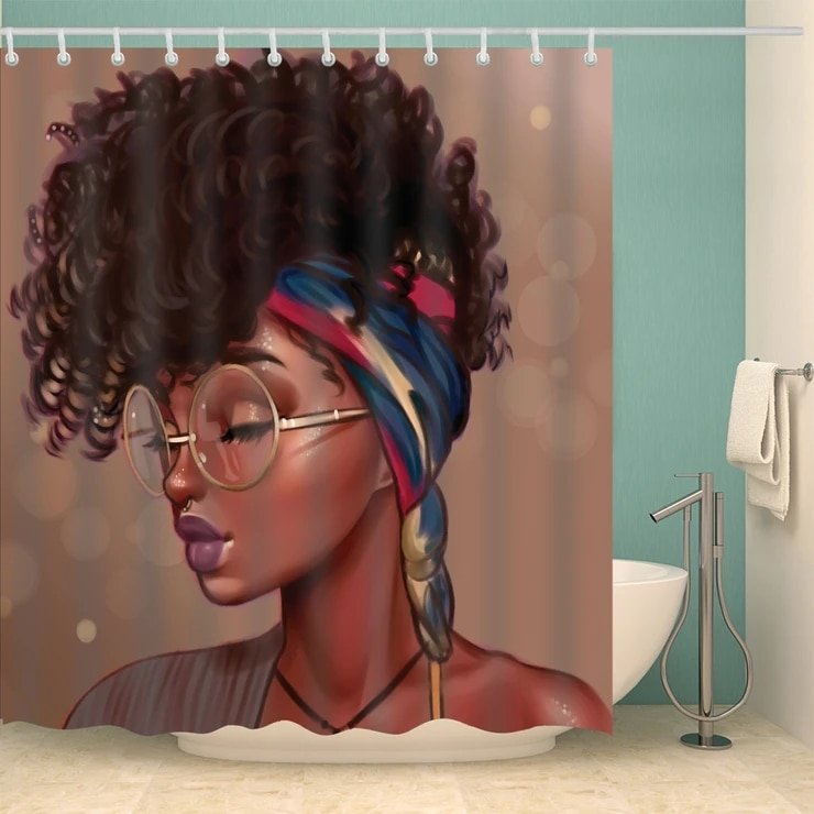 Estilo de pelo único con cristal Afro negro chica ducha cortina baño decoración cortina de baño con ganchos gratis