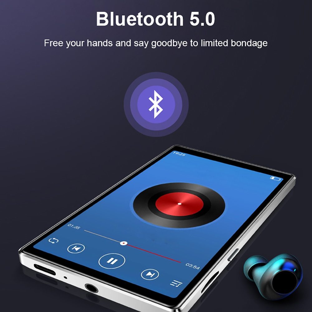 MP4 Bluetooth 5.0 Lossless MP4 Player Portable Audio Walkman With FM Radio EBook Voice Recorder MP4 Music Playe 4 Inch HD Screen enlarge