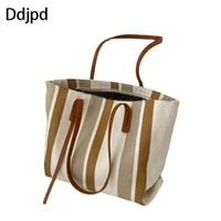 ddjpd ladies fashion canvas shoulder bag large capacity shopping bag female bag famous designer casual female tote bag beach bag