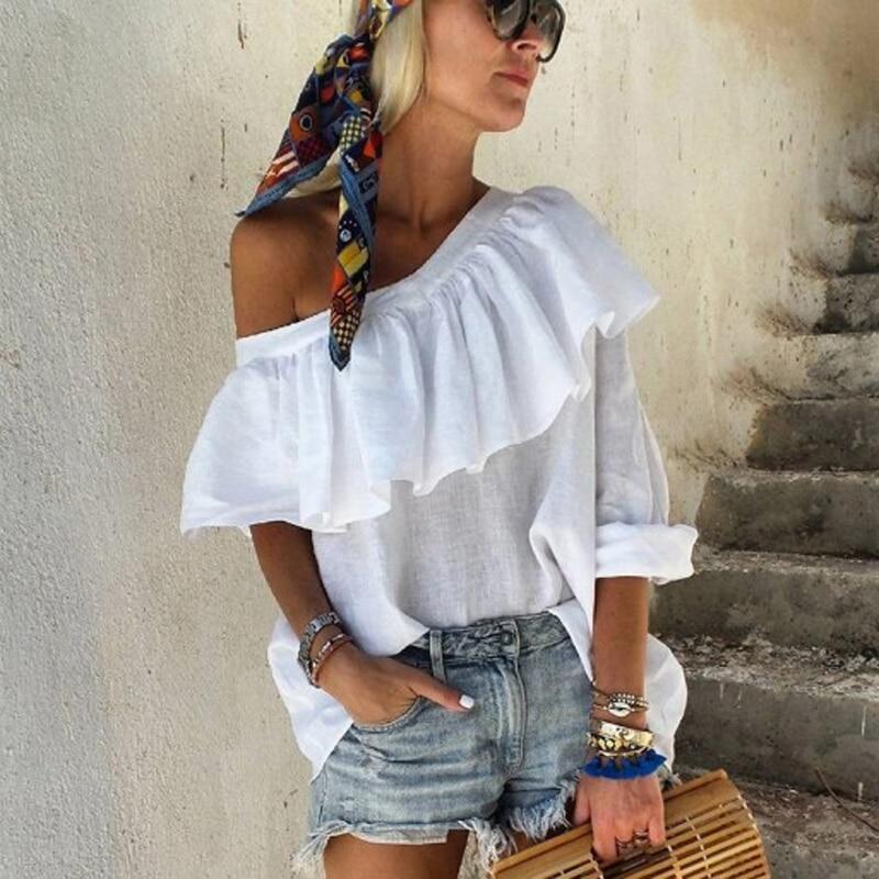 Women's Casual T-Shirts Tops 2021 Summer Outdoor Short Sleeve Tops Women Elegant Skew Collar Ruffle Solid Color Ladies T-Shirts